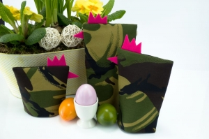Eierwärmer-Set TRUPPE 3er-Set ★ Pink ★ Camouflage Flecktarn ♡ auch eine tolle Dekoration ♡ nicht nur für Ostern