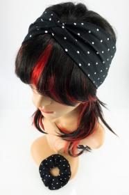 Stirnband und Scrunchie im Set ♥ Schwarz mit weißen Punkten ♡ Rockabilly Style - Handarbeit kaufen