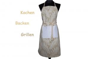 Schürze FLEXI ♡ aus Baumwolle mit bezauberndem Farn-Muster in weiß / beige und großer Tasche