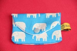 Geldbeutelchen / Tampontäschchen / Visitenkartenetui mit Druckknopf blaue Elefanten