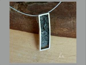 Anhänger in Handarbeit  hergestellt Silber poliert und strukturiert  - Handarbeit kaufen
