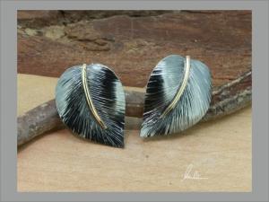 Ohrringe, Ohrstecker  aus Silber in Handarbeit Blatt   - Handarbeit kaufen