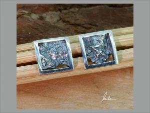 Ohrringe Handarbeit in Silber poliert und strukturiert   - Handarbeit kaufen