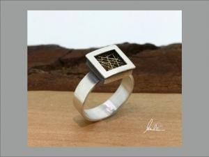 Filigraner Ring in Silber und Gold in Handarbeit hergestellt - Handarbeit kaufen