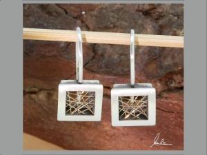 Filigrane Ohrringe in Silber und Gold 750  in feinster Handarbeit hergestellt bei wurlitzer schmuck - Handarbeit kaufen