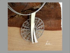 Anhänger Klöppelschmuck sehr filigran in Silber und Edelstahl in Handarbeit hergestellt - Handarbeit kaufen