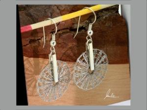 Ohrringe Klöppelschmuck und Spinnweben in Silber und Edelstahl in Handarbeit hergestellt  - Handarbeit kaufen
