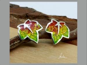 Ohrringe kleines buntes Blatt , Herbstblatt, in Handarbeit hergestellt mit strukturiertem Silber ein bunter Blätterwirbel