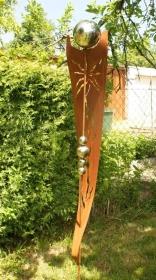 Roststab Deko '' Sonne ''  2 m mit Edelstahlkugeln