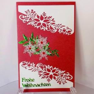 Weihnachtskarte in Rot-Weiß mit deutschem Text - Handarbeit kaufen