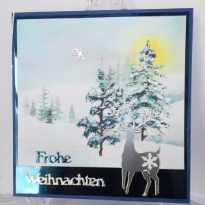 Weihnachtskarte mit Hirsch und handgemaltem Hintergrund - Handarbeit kaufen