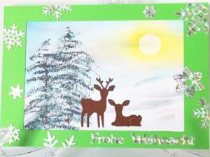Weihnachtskarte mit Hirsch, Winterlandschaft Handgemalt - Handarbeit kaufen