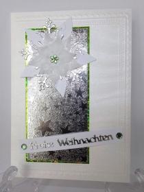 Weihnachtskarte in Weiß mit Silber - Handarbeit kaufen