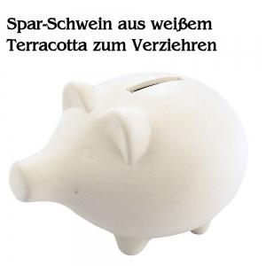 Sparschwein aus weißem Terrakotta Spardose Sparbüchse Rohling zum Verziehren - Handarbeit kaufen