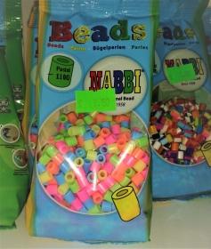 Bügelperlen kleine Tüte –1100St. bunte Neons, pastel Bügelperlen - 5mm, auch Walzenperlen - Handarbeit kaufen