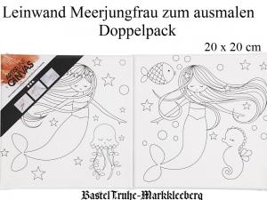 Leinwand mit Aufdruck Meerjungfrau zum bemalen und verzieren Doppelpack 20x20 je Motiv