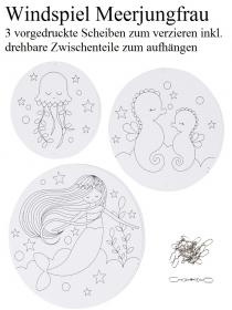 Windspiel für Kinder Meerjungfrau Mobile zum ausmalen und dekorieren Kinderzimmer deckenhänger - Handarbeit kaufen