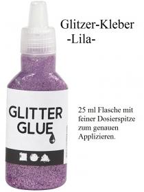 Glitzerleim, Glitzerkleber in vielen Farben zum dekorieren & verzieren, lila / fliederfarben 25 ml Flitter Glitter - Handarbeit kaufen