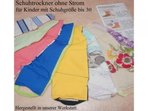 Schuhtrockner ohne Strom für Kinder bis Gr. 30 Farbe nach Zufall (keine Chemie) - Handarbeit kaufen
