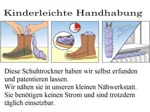 Schutrockner ohne Strom - in 3 Std. trockene Schuhe. bis Größe 40 Farben mit Rosa, keine Chemie - Handarbeit kaufen