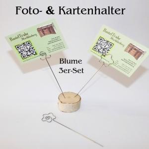 Kartenhalter Fotohalter Notiz-Zettelhalter 3er-Pack, in 3 Motiven Blume Memo-Clips - Handarbeit kaufen
