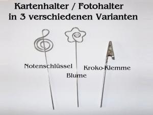 Kartenhalter Fotohalter Notiz-Zettelhalter 3er-Pack, in 3 Motiven Memo-Clips