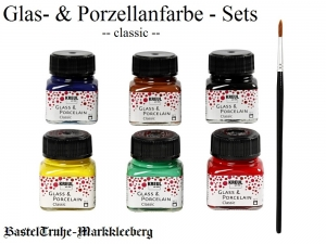 Glas- und Porzellanfarben Glasfarben - Classic - 6 Farben + Pinsel Glasmalfarben auf Wasserbasis - Handarbeit kaufen