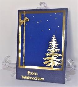 Weihnachtskarte in Blau und Gold - Handarbeit kaufen