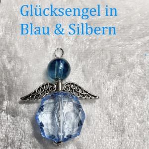 Schutzengel Glücksengel, Kettenanhänger Glücksbringer Engel Anhänger Blau-Silbern ca.4x3 cm - Handarbeit kaufen