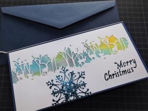 """Weihnachtskarte """"Weißer Wald vor handgemaltem Hintergrund"""" - Handarbeit kaufen"""