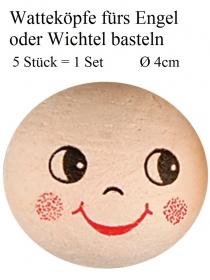 Deko-Köpfe Wattekopf mit Gesicht Bastelkopf Kopf für Engel oder Wichtel zum Basteln  - Handarbeit kaufen