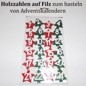 24 Zahlen für Adventskalender Filz & Holz Tannen & Sterne Vorweihnachtszeit