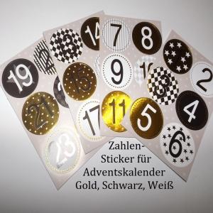 24 Zahlen für Adventskalender Vorweihnachtszeit Sticker 1-24 - Handarbeit kaufen