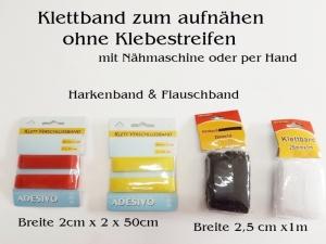 Klettband zum Aufnähen, SCHWARZ, Harkenband & Flauschband ohne Klebestreifen Klettverschluss - Handarbeit kaufen