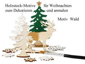 Holzsteck-Deko Motiv Wald, zum verzieren und Dekorieren, Weihnachtsfiguren Holzfiguren Weihnachten