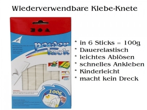 Klebe-Knete Power Tack 6 Sticks = 100 g wiederverwendbar schnell für Poster oder Memoboards - Handarbeit kaufen