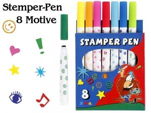 Stamper-Pens Stempelstifte 8 farbige Motive wie Filzstifte, perfekt für Kinder & Schule aus der BastelTruhe Markkleeberg - Handarbeit kaufen
