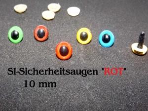 Teddy-Augen Plüschtier-Augen Kuscheltier, Häkeltier Tierauge Kunststoff 10 mm rot - Handarbeit kaufen