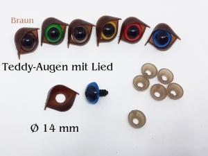 14 mm Teddy-Augen mit Augenlid in Braun, Plüschtier-Augen Kuscheltier-Augen SI-Augen als Set