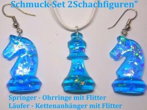 Schmuck-Set Schachfiguren Springer & Läufer blau Transparent Ohrringe und Kettenanhänger Schach - Fans - Handarbeit kaufen