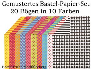 Gemustertes Bastel-Papier als Set, 20 Bögen in 10 Farben 250 g Kinderbasteln Karten Schachteln - Handarbeit kaufen