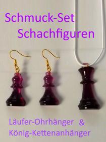 Schuck-Set Schachfiguren König & Läufer Kettenanhänger und Ohrhänger Lila Transparent  BastelTruheMarkkleeberg - Handarbeit kaufen