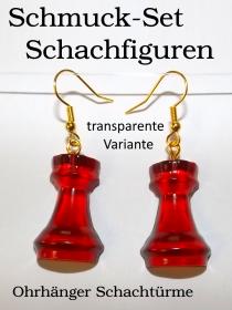 Schuck-Set Schachfiguren Ohrhänger Turm dunkelrot Transparent Schachturm  BastelTruheMarkkleeberg - Handarbeit kaufen
