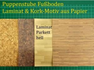 Puppenstubentapete -- Parkett Hell -- Tapete für Puppenhaus Kork-Tapete Parkett-Papier Fußboden 4x 15 x 15 cm