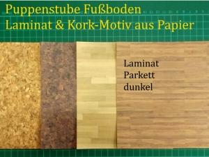 Puppenstubentapete -- Parkett dunkel-- Tapete für Puppenhaus Kork-Tapete Laminat Parkett-Papier Fußboden 4x 15 x 15 cm