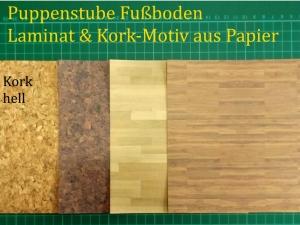 Puppenstubentapete -- Kork Hell-- Tapete für Puppenhaus Kork-Tapete Laminat Parkett-Papier Fußboden 4x 15 x 15 cm
