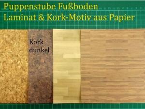 Puppenstubentapete -- Kork dunkel -- Tapete für Puppenhaus Kork-Tapete Laminat Parkett-Papier Fußboden 4x 15 x 15 cm - Handarbeit kaufen