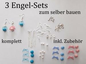 3 Schmuck-Sets zum selber basteln Glücksengel 76 Teile ergeb 3 Sets, 3 Paar Ohrhänger + 3 Ketten - Handarbeit kaufen