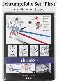 Schlüsselanhänger für Kinder zum selber basteln Schrumpffolien für Schlüssel-Anhänger als Piraten-Set 4 Motive - Handarbeit kaufen