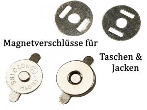 Magnetknöpfe Magnetschließen für Taschen & Jacke, Taschenknöpfe silbern Ø 18mm - Handarbeit kaufen